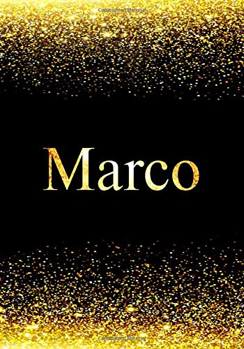 Marco Notebook: Printed Glitter Black and Gold , Notebook Journal, 110 pages, 7x10 inch, Christmas gift , birthday gift idea