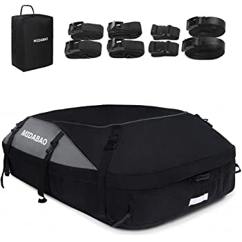 MIDABAO Car Top Carrier Roof Bag by Waterproof 1200-Denier Polyester Material - 100% Waterproof & Coated Zippers 20 Cubic ft - for Cars with or Without Racks
