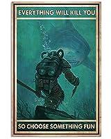 サメのポスター金属スズのロゴ、すべてがあなたを殺すので、いくつかの面白いアルミ金属の壁装飾レトロなバーのロゴを選択します家族の台所人々の洞窟リビングルーム装飾プレゼント8X12インチ