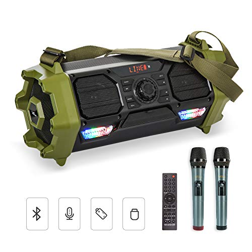 VeGue Karaoke Machine Portable Bluetooth Wireless Speaker PA System with 2 Wireless Mics, shoulder strap, Waterproof, Ideal for Party, Beach, Indoor/Outdoor Activities