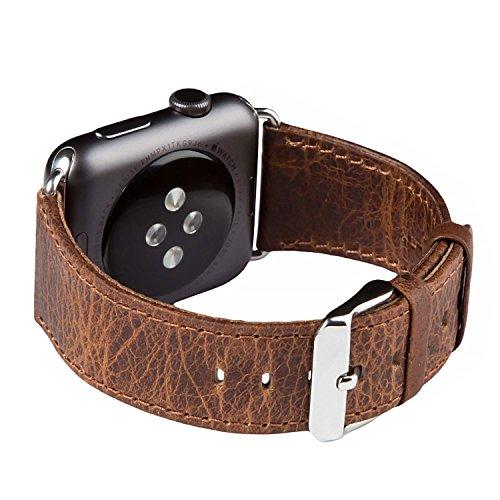 FUTLEX Cinturino per Apple Watch, 44mm/42mm Cinghietta per Il Polso Bracciale Cinturino di Ricambio in Vera Pelle w/Fibbia Classica per Apple Watch - Colore caffè