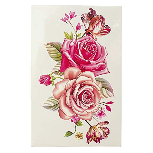 2 x Bunte Rosen Blumen Tattoo - Körpertattoo - Einmal Tattoo C056 (2)