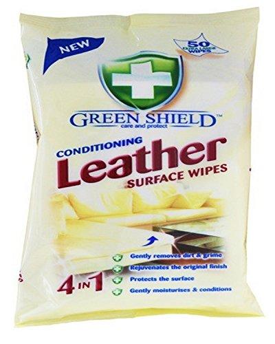 Green Shield - Toallitas para superficies de cuero acondicionado, paquete de 50 unidades, toallitas extra grandes