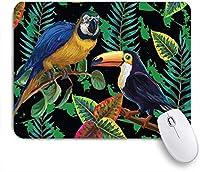 KAPANOUマウスパッド オウム熱帯鳥の森自然植物葉コンゴウインコ ゲーミング オフィス最適 おしゃれ 防水 耐久性が良い 滑り止めゴム底 ゲーミングなど適用 マウス 用ノートブックコンピュータマウスマット