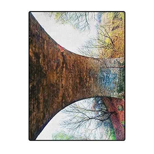 Landscape Simple Rug Carpet Ball Table Pillar of Old Stone Bridge in Rural Area Ancient Historic Architecture Landmark Brown Green 4 x 5 Ft