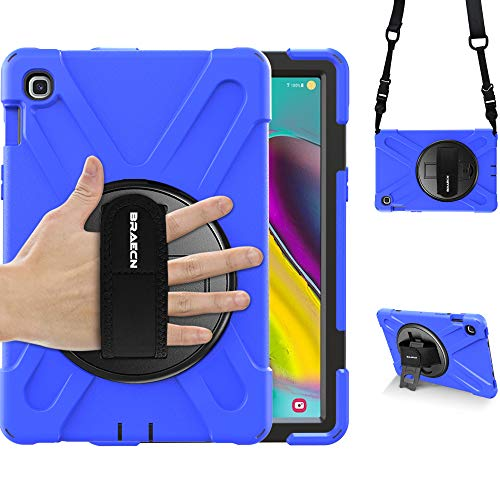 BRAECN Galaxy Tab S5e 10.5 Case,SM-T720/T725/T727 Case-Three Layer Heavy Duty Rugged Drop Protection Case with Hand Strap,Kickstand and Shoulder Strap for Samsung Galaxy Tab S5e 2019 Tablet(Blue)