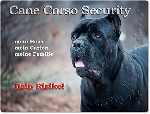 Merchandise for Fans Warnschild - Schild aus Aluminium 20x30cm - Motiv: Cane Corso Security (01)