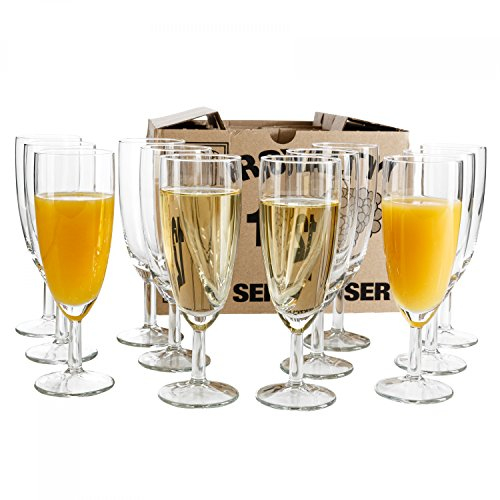 Van Well 12er Set Sektglas Royalty, 0.1L geeicht, Ø 50 mm, H 160 mm, Sektflöte, Kelchglas, Champagner- u. Prosecco-Glas, Partyglas, Gastronomie