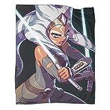 Manta ligera antiestática ThrowStar Wars The Mandalorian Season 2 Ahsoka Tano, estilo cómic, fácil cuidado para todas las estaciones, manta de cama 40 x 50 pulgadas (100 x 130 cm)