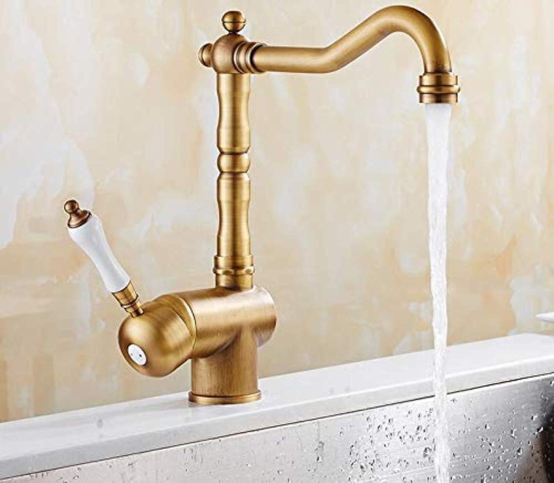 Wasserhahn Küche Waschbecken Badezimmer Europa-Art-Messingantike Bronze Chrom-Küchen-Hahn-einzelner Keramikgriff-Schwenkerküche
