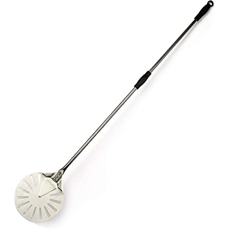 """Turning Pizza Peel for Brick Oven,9"""" Stainless Steel Small Round Perforated Pizza Paddle with 47"""" Long Handle"""