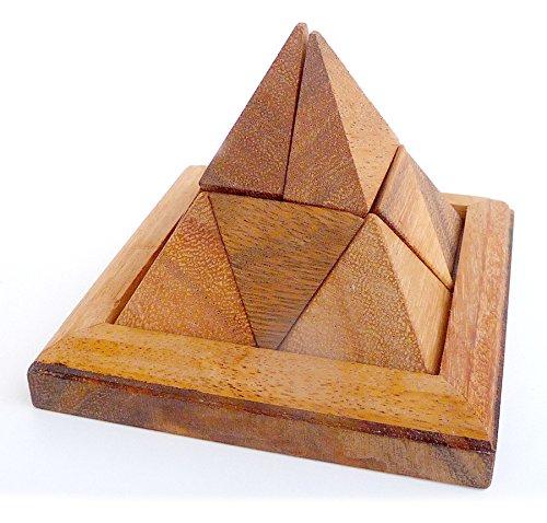 Logica Juegos Art. Pirámide 9 pzs - Rompecabezas de Madera 3D - Dificultad 3/6 Dificil - Collecion Leonardo de Vinci