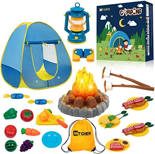 MITCIEN Kids Camping Play Tent with Toy Campfire Marshmellow Fruits Toys Play Tent Set for Boys product image