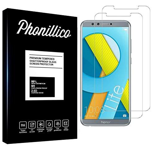 PHONILLICO [Pack de 2] Verre Trempe pour Huawei Honor 9 Lite - Film Protection Ecran Verre Trempe [Lot de 2] Vitre Ecran Protecteur Anti Rayure sans Bulle d'Air Dureté 9H Ultra Mince Transparent