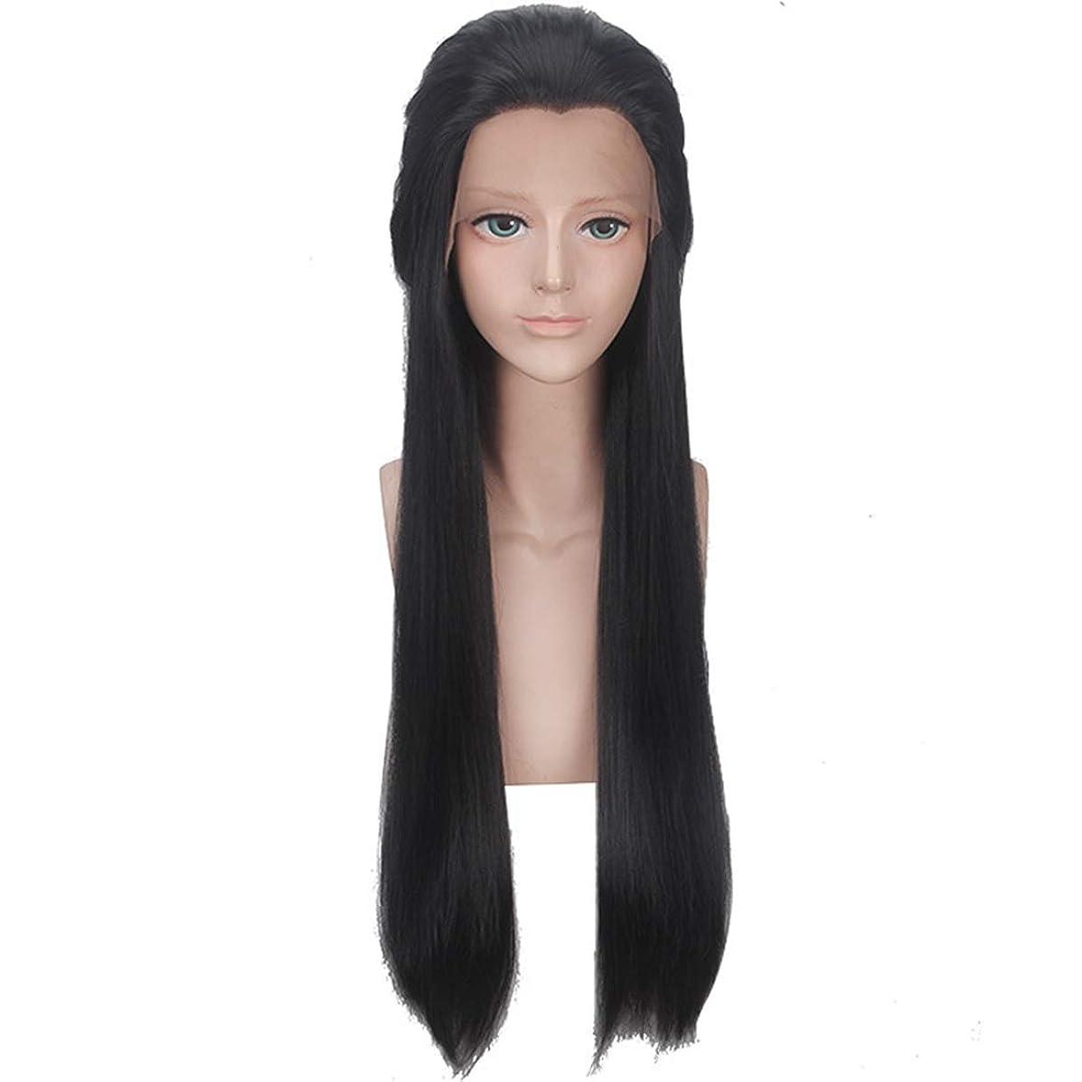 シソーラス長さ燃料BOBIDYEE ファッションかつら女性の黒の美しさの先のとがった長いストレートの髪化学繊維フロントレースかつら合成髪レースのかつらロールプレイングかつら (色 : 黒)
