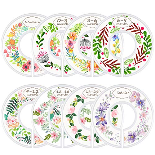 ManGotree Baby Wardrobe Clothes Size Dividers, Set of 8 Toddle Nursery Baby Closet Clothes Dividers Organisers - Flower Pattern