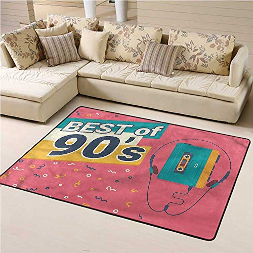 """Soft Large Area Rug 90s Silky Smooth Kids Play Mats Best of 90s Cassette Player for Living Room Bedroom Home Deck Patio (6'6""""x10')"""