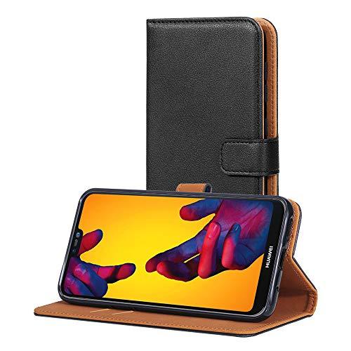 AICEK Hülle Kompatibel mit Huawei P20 Lite, Lederhülle für Huawei P20 Lite Schutzhülle PU Leder Klapphülle mit Kartenfach Ständer Magnet Funktion Schwarz (5,84 Zoll)