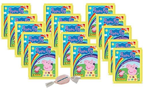Panini - Peppa Pig Wutz Alles was ich mag Sticker - 15 Tüten zusätzlich 1 x Fruchtmix Sticker-und-co Bonbon