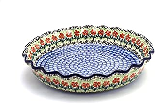 Polish Pottery Baker - Pie Dish - Fluted - Maraschino