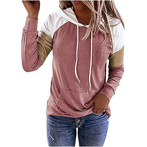 Wave166 Sudadera con capucha para mujer, diseño de patchwork, delgada, con cordón, manga larga y cuello redondo, con bolsillos, para invierno, moda larga y deporte, Rosa., XL