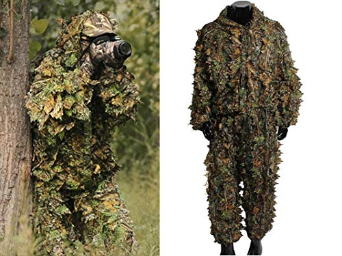 MostaShow Airsoft Ghillie Suits 3D Leaves Camouflage Clothing Military Woodland Jungle Hunting Poncho