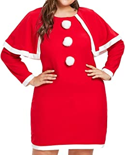 Misaky Christmas Costume, Womens Casual Plus Size Knee-Length Long Sleeve Dress with Hat
