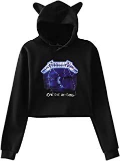 Women's Long Sleeve Metallica- Ride Lightning Print Cute Cat Ear Pullover Hoodie