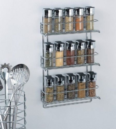 Organize It All 3-Tier Wall-Mounted Spice Rack - Chrome (1812), New