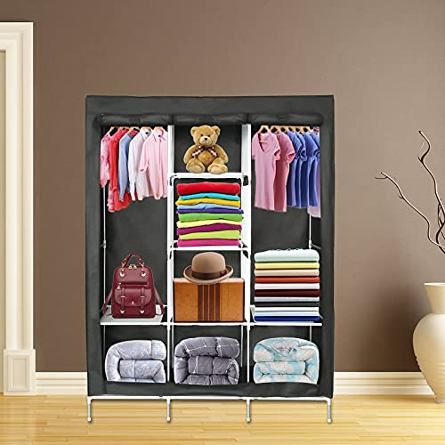 WerkWeit Portable Wardrobe Closet Storage Organizer with Non-Woven Fabric Cover Storage Shelves + Hanging Sections +...
