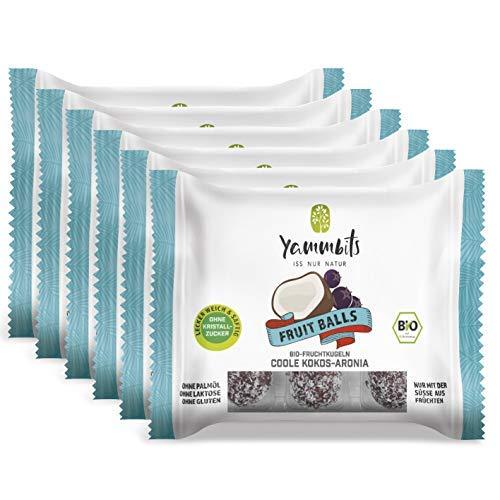 Yammbits Fruchtkugeln Coole Kokos-Aronia 6er-Set (6x 70g) | 100% Frucht, 0% Zuckerzusatz aus Bio-Früchten | Gesunde und Leckere Snacks [Vegan, Glutenfrei]