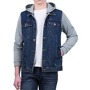 Men's Hoodies Sweatshirt Jean Patchwork Sleeves Button Down Denim Jac...