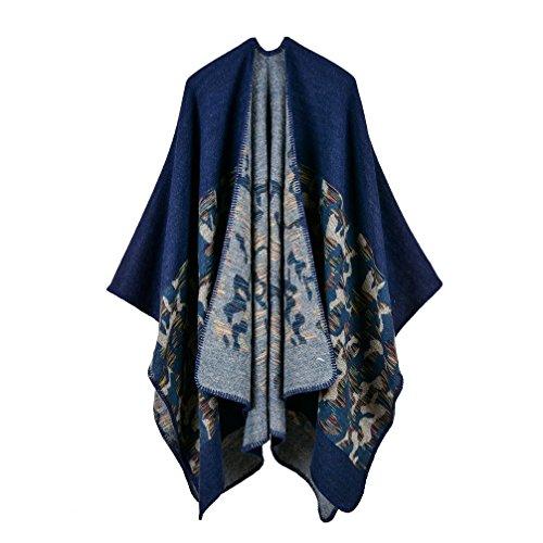 Bakerdani Womens Winter Wrap Blanket Poncho Cape Shawl Cardigans Sweater Coat,Blue,One size:130150cm