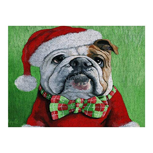Jigsaw Puzzle, Puzzles for Adults and Kids 500 Pieces Holiday Cheer -English Bulldog Santa Dog Painting Puzzle Game for Adults and Teenagers
