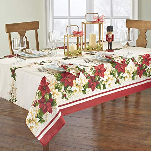 Elrene Home Fashions Red and White Poinsettia Christmas Holiday Fabric Tablecloth, 60' x 84' Oblong, Multi