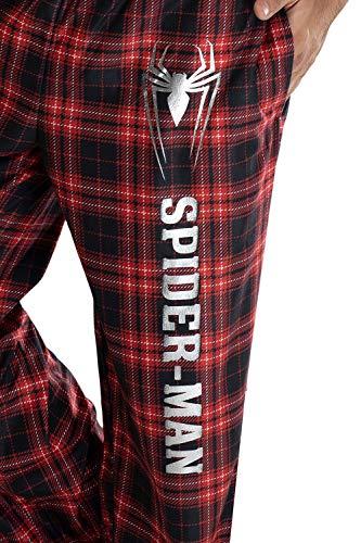Marvel Comics Men's Spider-Man Logo Plaid Lounge Pants Sleepwear Pajama Pants