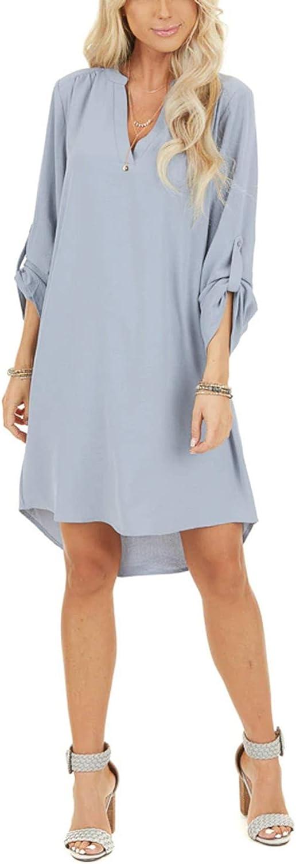 YOINS Damen Kleider Tshirt Kleid Sommerkleid f/ür Damen Brautkleid Langarm Minikleid Kleid Langes Shirt V-Ausschnitt Lose Tunika mit Bowknot /Ärmeln