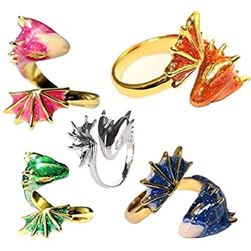 JSSEVN 5 piezas Topaz Dragón Anillo para Mujer, Tamaño Abierto Unisex Lucky Dedos Ajustable Gótico Anillos de Dragón para Mujeres Hombres