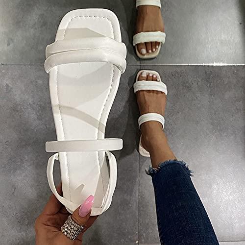 YLLQX Sandalen Damen Espadrilles Casual Keilsandalen Frauen Sommer Faux Leder mit Knöchelriemen Summer Women's Flip-Flops Open Toe Rhinestone Casual Beach Shoes Flats Slippers