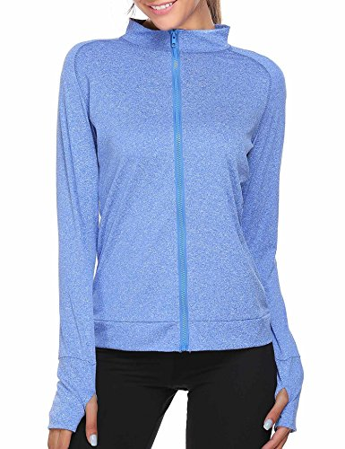 SoTeer Women's Active Long Sleeve Work Out Gym Yoga Stretchy Zip Thumb Hole Jacket (Gray, XL)