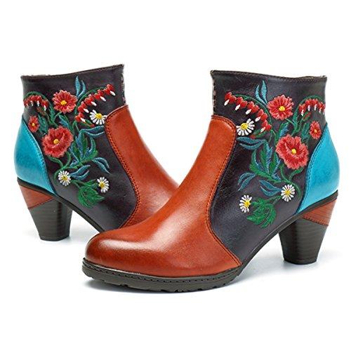 Socofy Botines de Cuero, Zapatos de Cuero de Invierno de Las Mujeres Botas Ocasionales Botines Calientes de Oxford con Botas Modelo de Zapatos de boemi Inclinados con Cuero de tacón Alto con talón (Ropa)