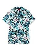 Tommy Hilfiger Camisa de Manga Corta con Estampado Hawaiano de Flores y Hojas, Verde (Green), M para Hombre