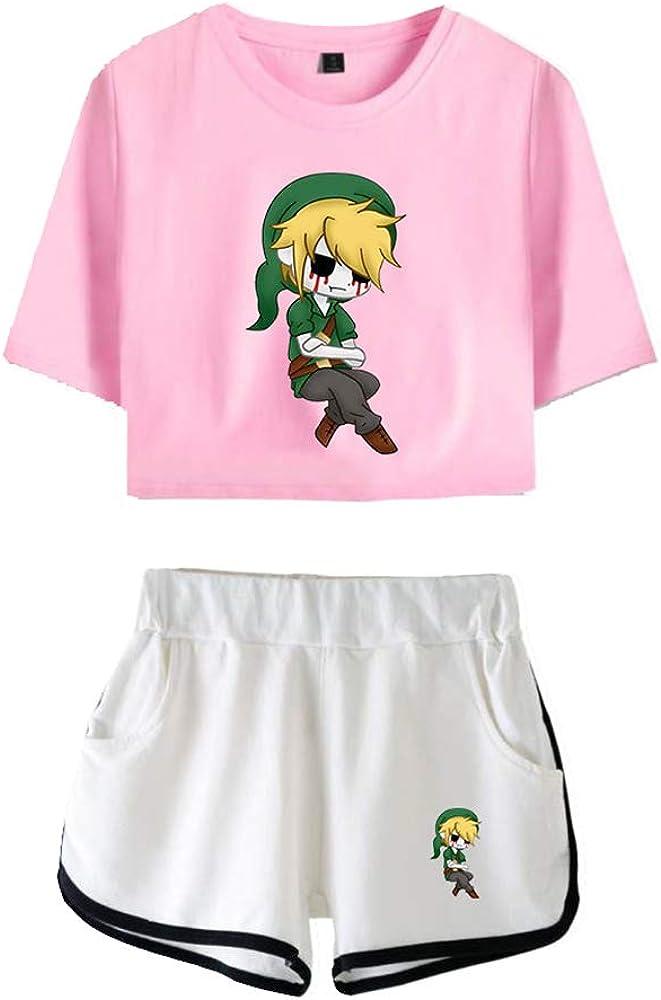 Creepypasta Pullover Classic Allentato Il Tempo Libero Estivo Imposta Bicchierino di Modo Ombelico T-Shirt Puro Cotone Shorts Unisex