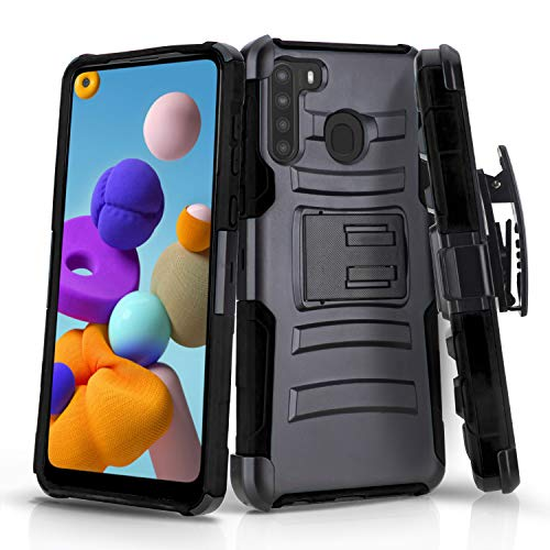 CasemartUSA Phone Case for [Samsung Galaxy A21], [Refined Series][Black] Shockproof Cover with Built-in Kickstand & Belt Clip Holster for Samsung Galaxy A21 (Verzion, Boost Mobile, T-Mobile, Metro)