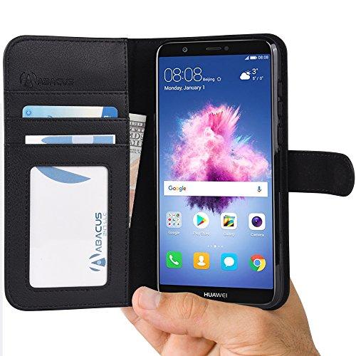 ABACUS P Smart Hülle Tasche kompatibel mit Huawei P Smart Brieftasche [Abacus24-7] Handy-hülle/Leder-Tasche mit Ständer Fächern für Karten Bargeld, Handytasche Huawei P Smart Hülle Cover [Schwarz]