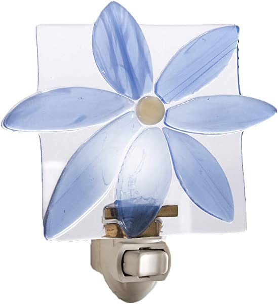 Blue Flower Night Light Decorative Accent Lite Wall Plug In Nightlight For Nursery Bedroom Bathroom Kitchen Fused Glass Home D Cor J Devlin NTL 150