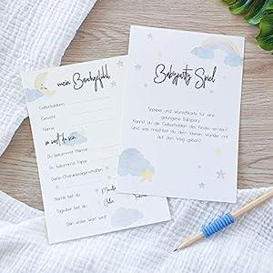 BabyParty Spiel Unisex | 10 Karten | Tippspiel und Wunschkarten | für Jungen und Mädchen