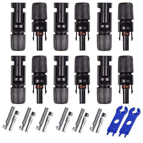 Pasway 6 Paare MC4 Stecker + Buchse für 4-6mm² Leitungen männlich / weiblich Doppeldichtung Ringe Wasserdichte