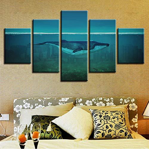 SKShenkai Leinwand Gemälde Wohnzimmer Dekor 5 Stücke Delphin Im Meeresboden Schwimmen Bilder HD Gedruckt Wal Poster Modulare Wandkunst Rahmen