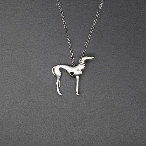 DUEJJH Co.,ltd Collar Vintage de Moda Collar de Galgo Italiano Moda Sloughi joyería español Gris Hhound Whippet Colgante Collar Mujeres